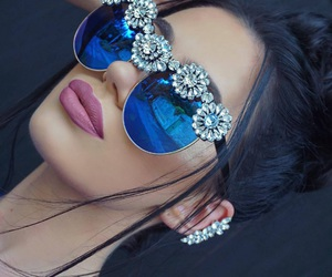 blue, flowers, and jewellery image