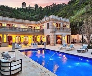 house, lights, and pool image