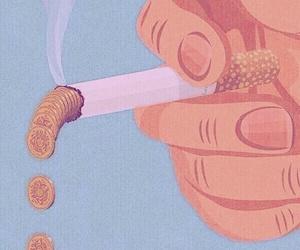 money, smoke, and cigarette image