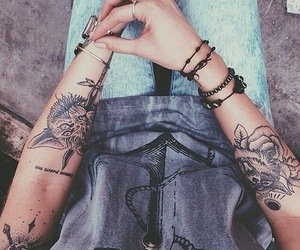 rose, tatouage, and animaux image