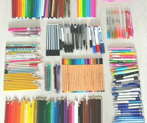 pen, colors, and school image
