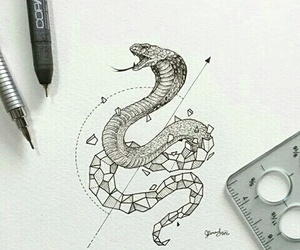art, drawing, and snake image