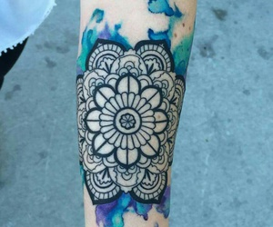 ink, blue, and flower image
