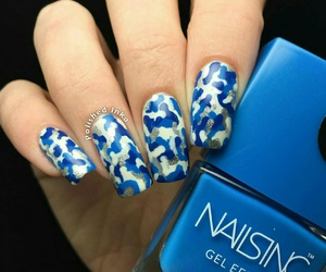 blues, nail art, and camouflage image