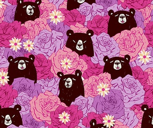 bear, flowers, and pink image