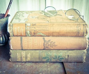 book, vintage, and glasses image