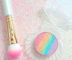 makeup, rainbow, and pink image
