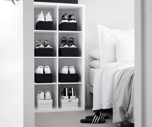 bedroom, grey, and sneakers image