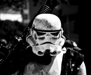 star wars, stormtrooper, and black and white image