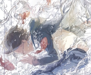 anime girl, underwater, and art image