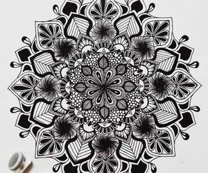 black, mandala, and art image