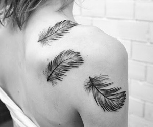 feathers, shoulder, and tattoo image