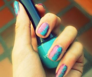 nails, pink, and blue. vogue image