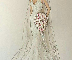 wedding, drawing, and dress image