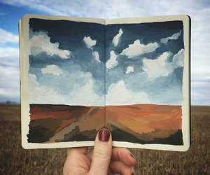 art, field, and sky image