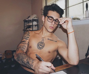 draw, glasses, and men image