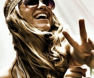 girl, peace, and smile image