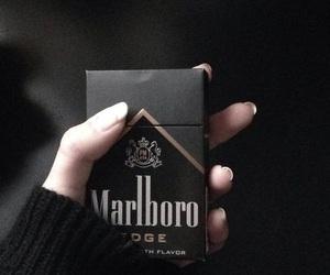 black, marlboro, and cigarette image