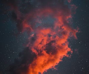 clouds, night, and red image