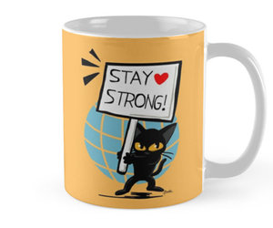 cat, mug, and coffee image