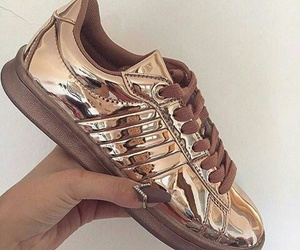 shoes, gold, and sneakers image