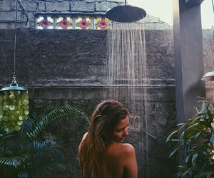 girl, summer, and shower image