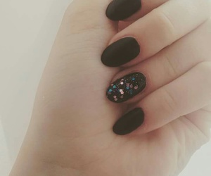 black, black nails, and fingers image