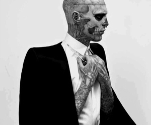 tattoo, black and white, and rick genest image