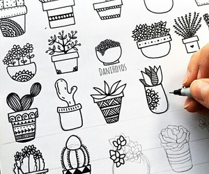drawing, mandala, and plants image