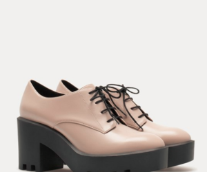 shoes, stradivarius, and track heel brogues image