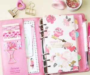 filofax, pink, and paperclips image