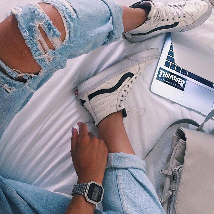 accessories, vans, and ripped jeans image