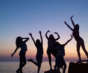 friends, girls, and beach image
