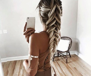 blonde, braid, and hair image