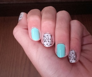 black and white, watermarble, and mint green image