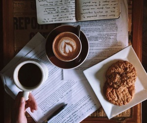 coffee, book, and Cookies image