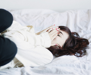 girl, bed, and smile image