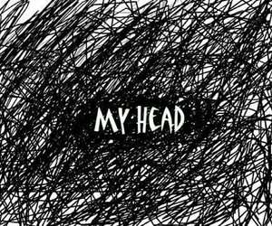 black and white, head, and mind image