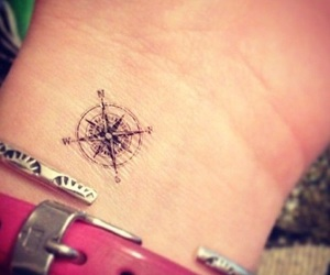 tattoo, small, and compass image