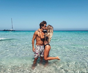 couple, kiss, and beach image