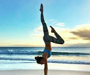 beach, yoga, and fit image