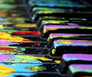 music, piano, and paint image