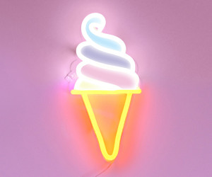 ice cream, neon, and pink image