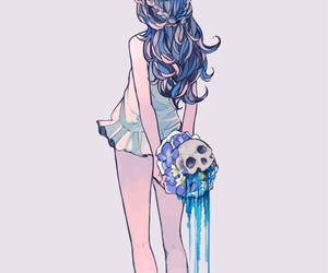 anime girl and skull image