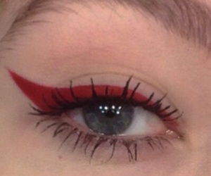 red, aesthetic, and makeup image