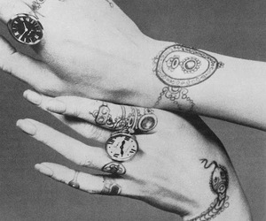 tattoo, black and white, and hands image