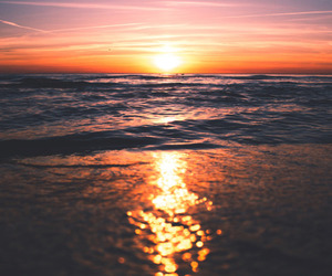 sun, sunset, and beach image