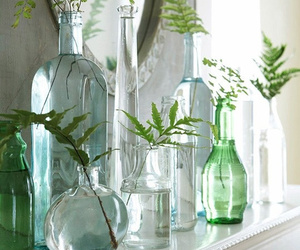 green, flowers, and bottle image