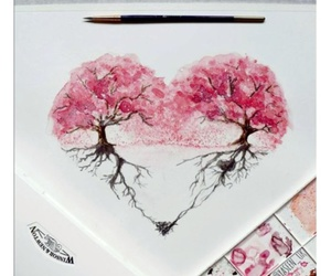 art, heart, and painting image