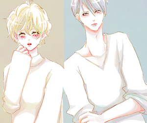 illustration, 胸きゅん, and lover image